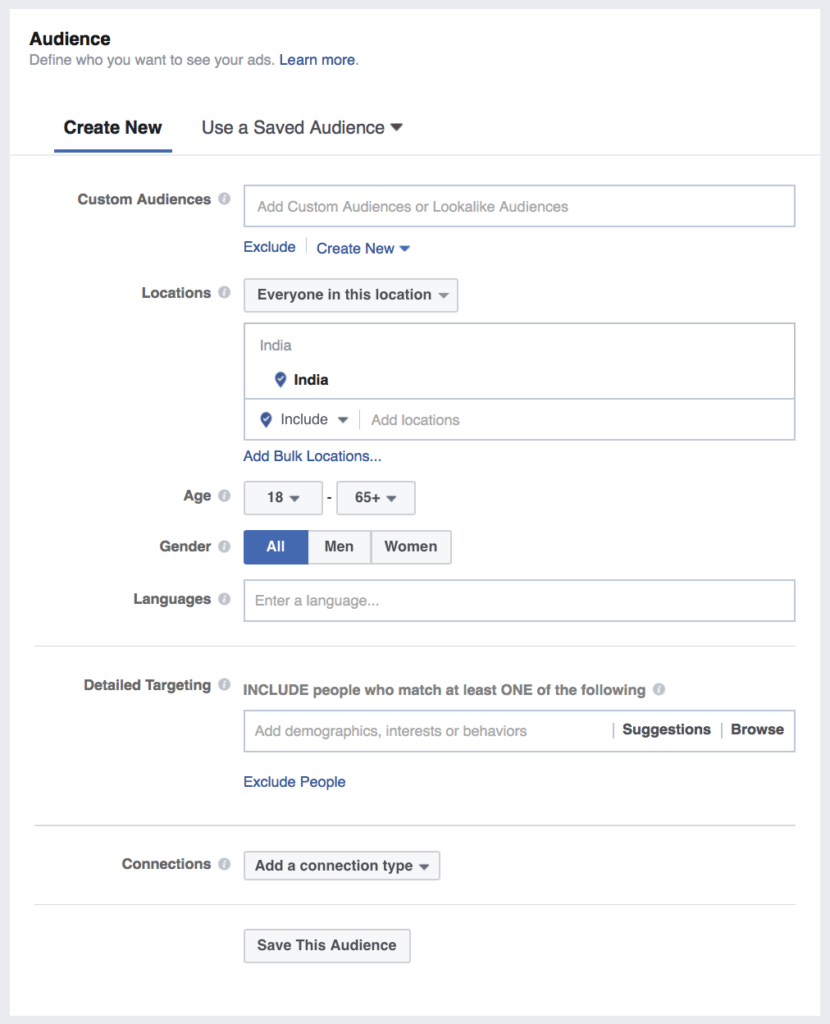 set audience for facebook ad