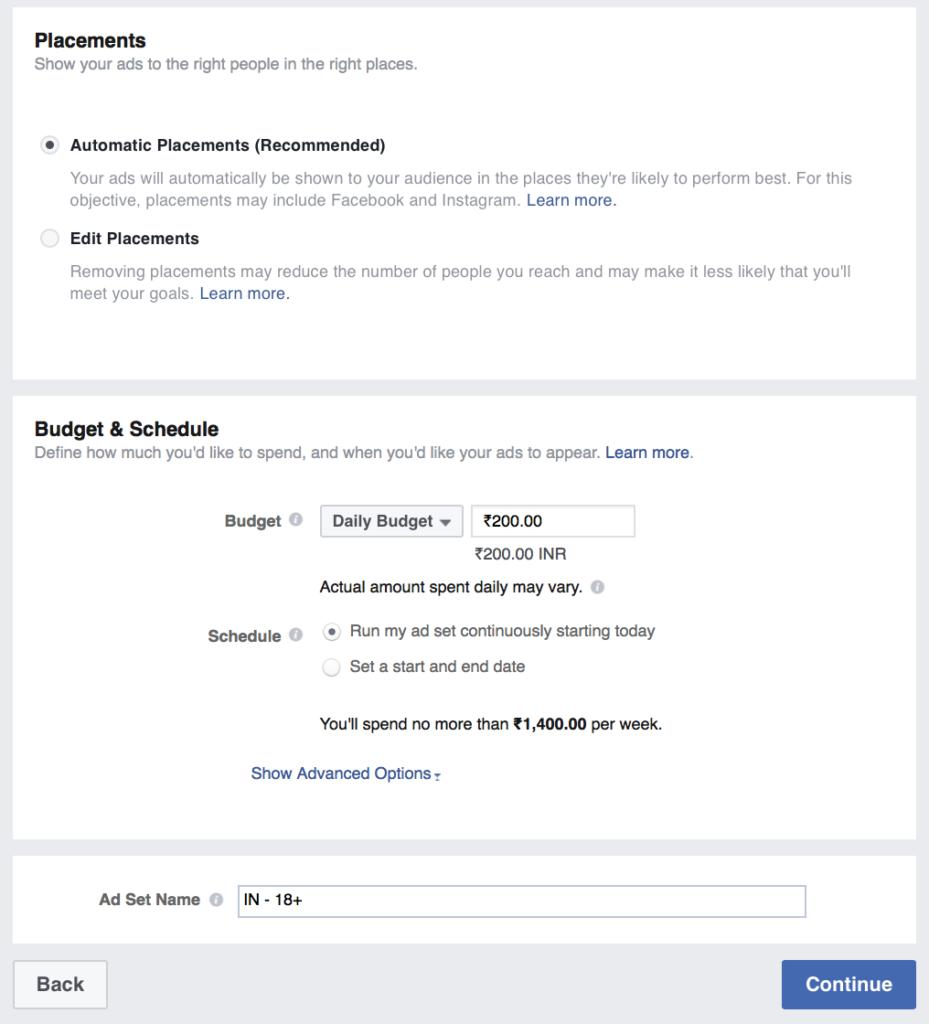 set budget for facebook ad