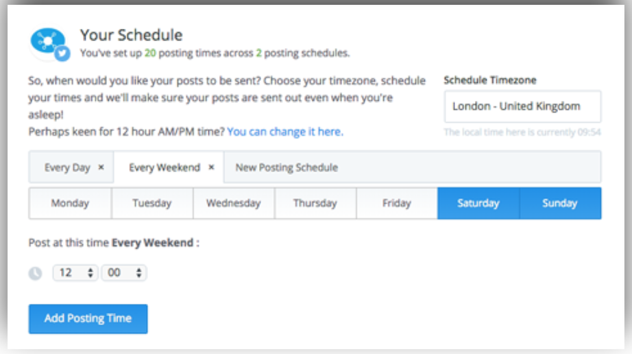 buffer tweet schedule setting