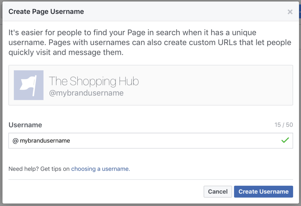 create an unique username for your brand
