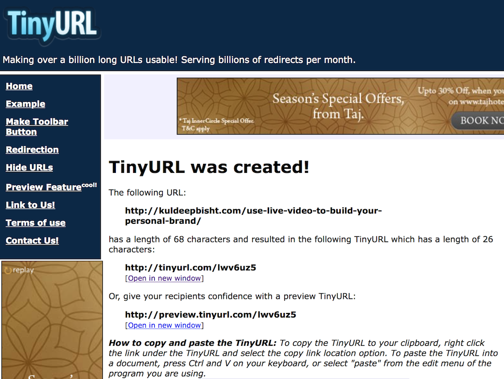 short your URL with TinyURL