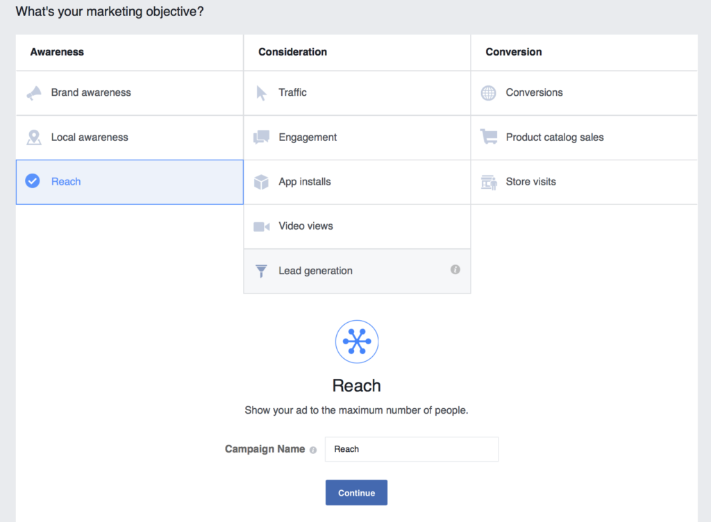 set your marketing objective for facebook ads