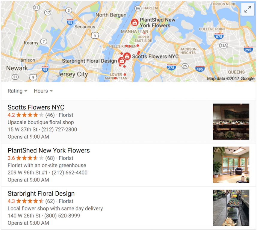local seo results for flowers in new york